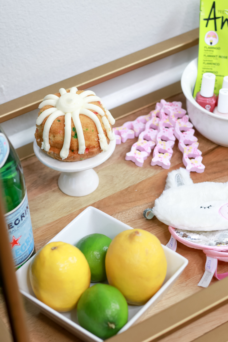 The Ultimate Spa Birthday Party  featured by popular US Party Blog, The Fashionista Momma; Bar Cart setup for a spa party.