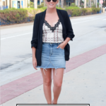 5 Ways To Style A Blazer For Summer featured by popular US style Blogger, The Fashionista Momma; woman wearing denim skirt and blazer.