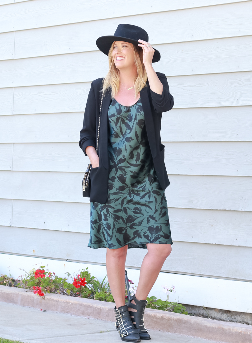 5 Ways To Style A Blazer For Summer featured by popular US style Blogger, The Fashionista Momma; woman wearing a floral printed dress and blazer.
