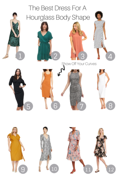 The Best Dresses For A Hourglass Body featured by popular US style blogger, The Fashionista Momma; collage of dresses for a hourglass body.