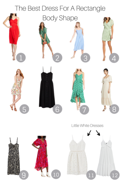 The Best Dress For A Rectangle Body Shape featured by Top US Style Blogger, The Fashionista Momma; collage of dresses for a rectangle body shape.