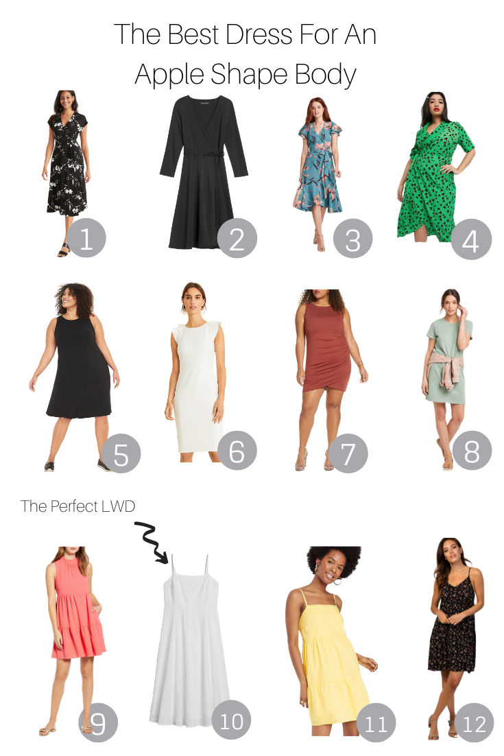 The best dress for an apple body shape featured by the popular US Style Blogger, The Fashionista Momma; collage of dresses for an apple body shape