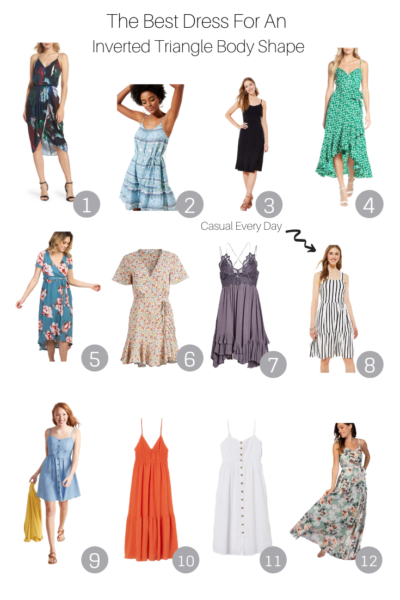 The Best Dress For An Inverted Triangle Body Shape featured by Popular US style blogger, The Fashionista Momma; collage of dresses