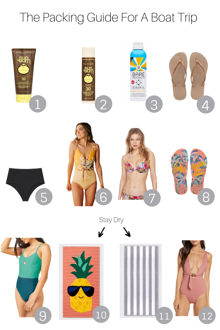 The Packing Guide For A Boat Trip featured by Popular US Style Blogger, The Fashionista Momma; collage of beach products.