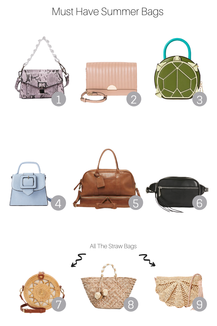Must Have Summer Bags featured by Popular US Style Blogger, The Fashionista Momma; collage of the must have summer bags