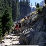 Things To Do For 4th Of July During Social Distancing featured by popular US Mom Blogger, The Fashionista Momma; people hiking at Vernal Falls, Yosemite.