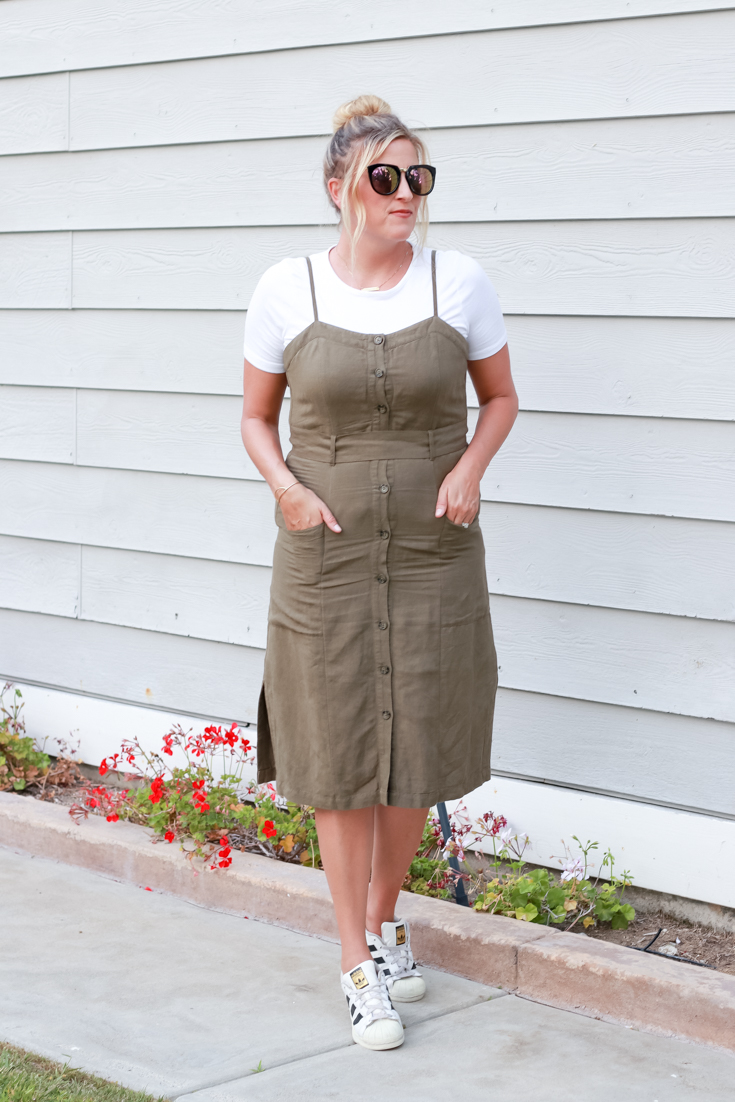 Tie Waist Dress 3 Ways featured by popular US Style Blogger, The Fashionista Momma; woman wearing a tie waist dress.