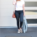 15 Must Have Basics For Your Wardrobe featured by Top US Style Blogger The Fashionista Momma; woman wearing dark grey denim featuring Mott & Bow.