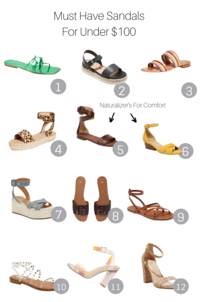 Must Have Sandals For Under $100 that are perfect for summer, featured by Popular US Style Blogger, The Fashionista Momma; collage of summer sandals.
