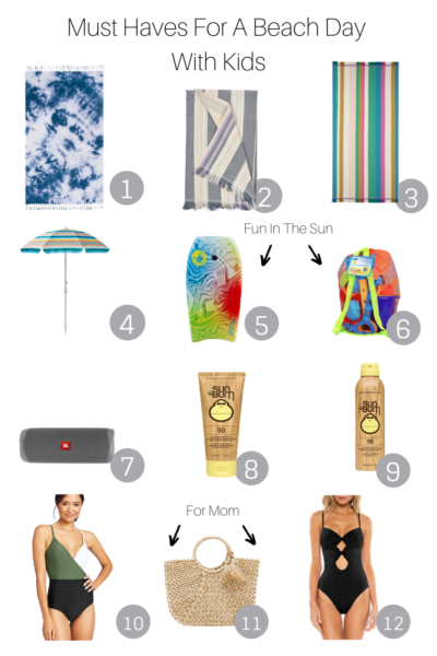 Must Haves For A Beach Day With Kids featured by popular US Mom Blog, The Fashionista Momma; collage of must have items for a beach day.