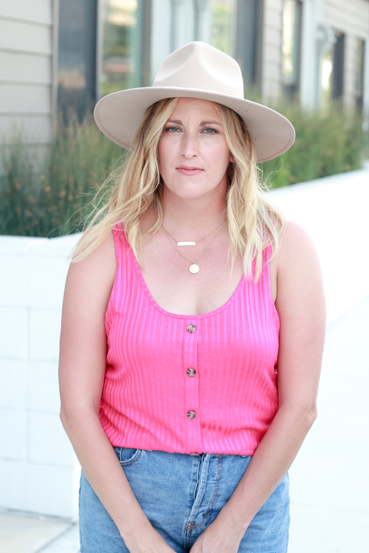 Bright Tank For Summer featured by Popular US Style Blogger, The Fashionista Momma; woman wearing pink tank top
