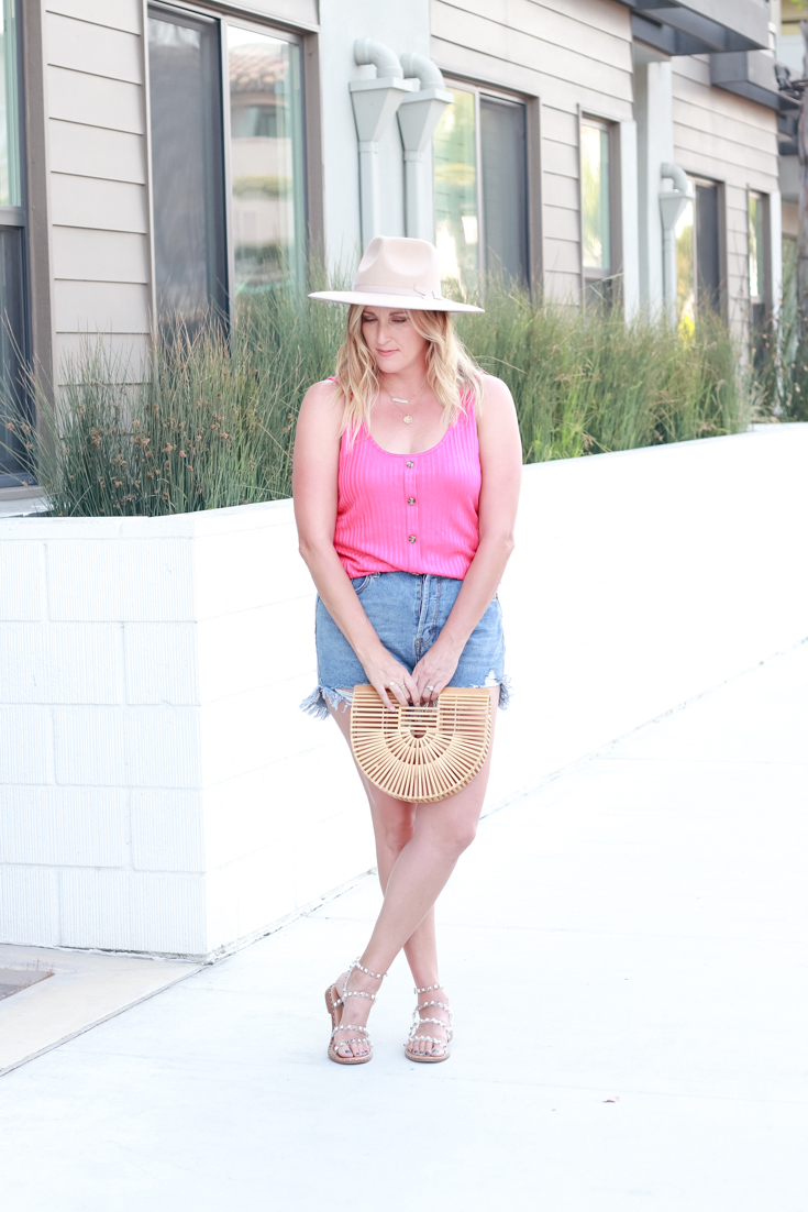 Bright Pink Tank Top For Summer featured by Popular US Style Blogger, The Fashionista Momma; woman wearing pink tank top