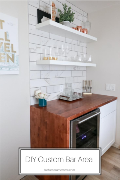Popular US Style Blogger, The Fashionista Momma, shares the perfect DIY Custom Bar Area with a waterfall edge butcher block countertop; DIY Bar Area with butcher block counter