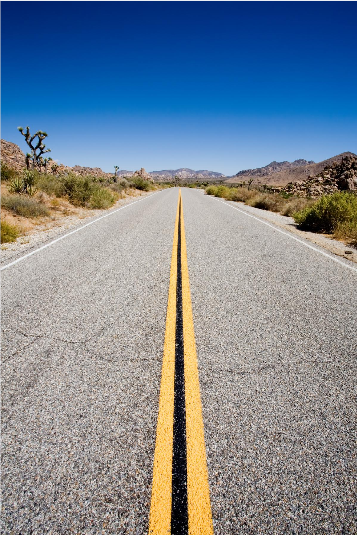 Best Tips To Road Trip With Kids featured by popular US family travel blogger, The Fashionista Momma; desert road in California.