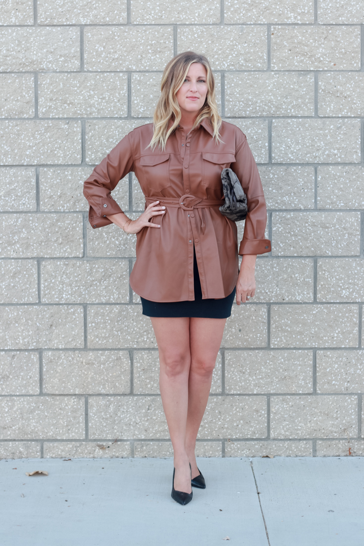 Faux Leather Shirt outfit for fall featured by popular US Style Blogger, The Fashionista Momma; woman wearing a faux leather shirt.