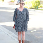 Dark Print Dress For Fall With ONecklace