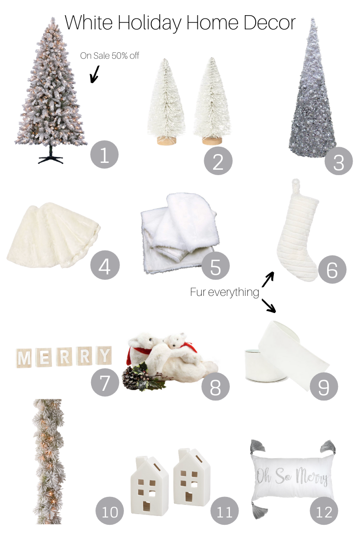 White Holiday Home Decor featured by popular US Style Blogger, The Fashionista Momma; collage of white home decor for the holidays.