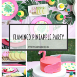 Flamingo Pineapple Party featured by Top US Party Blogger, Style & Wanderlust; photo collage of party setup.