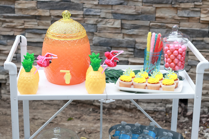 Flamingo Pineapple Party featured by Top US Party Blogger, Style & Wanderlust; Pineapple Party Bar Cart