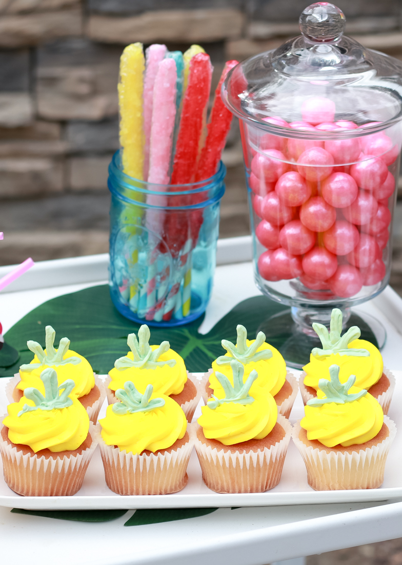 Flamingo Pineapple Party featured by Top US Party Blogger, Style & Wanderlust; Pineapple Cupcakes