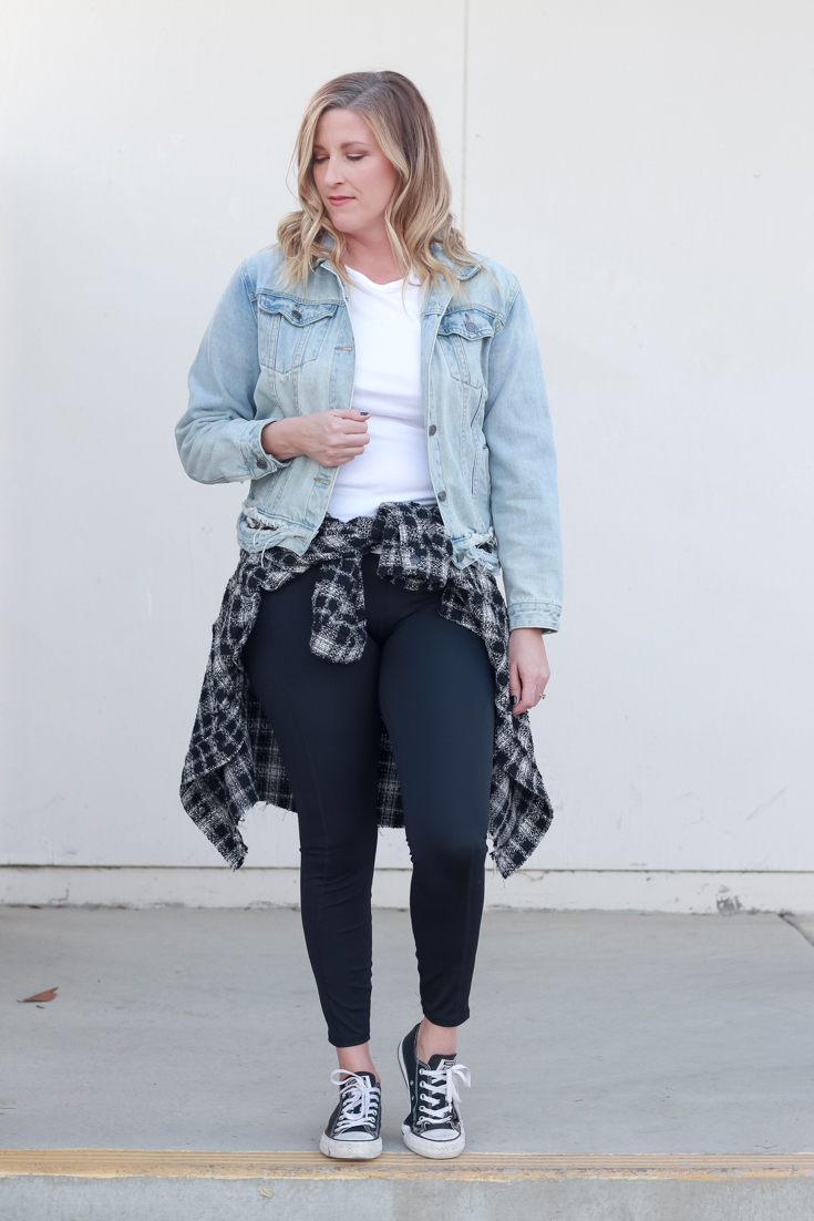 4 Ways To Wear A Shacket featured by popular US Style Blogger, Style & Wanderlust: photo of woman wearing leggings a denim jacket