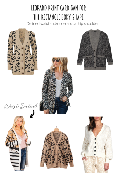 Leopard Print Cardigan For A Rectangle Body Shape. The perfect collage of leopard print cardigans for a rectangle.