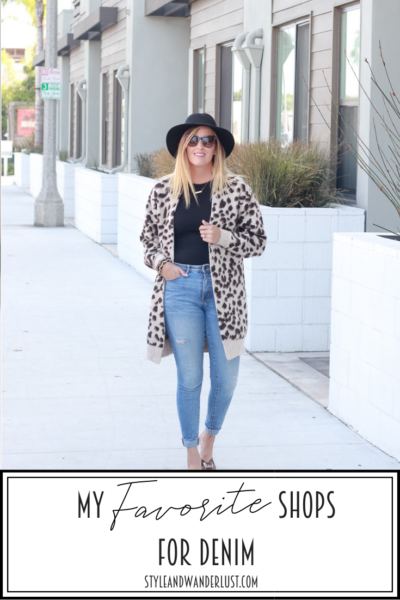My Favorite Shops For Denim featured by popular US Style Blogger, Style & Wanderlust; women wearing jeans and a leopard cardigan.