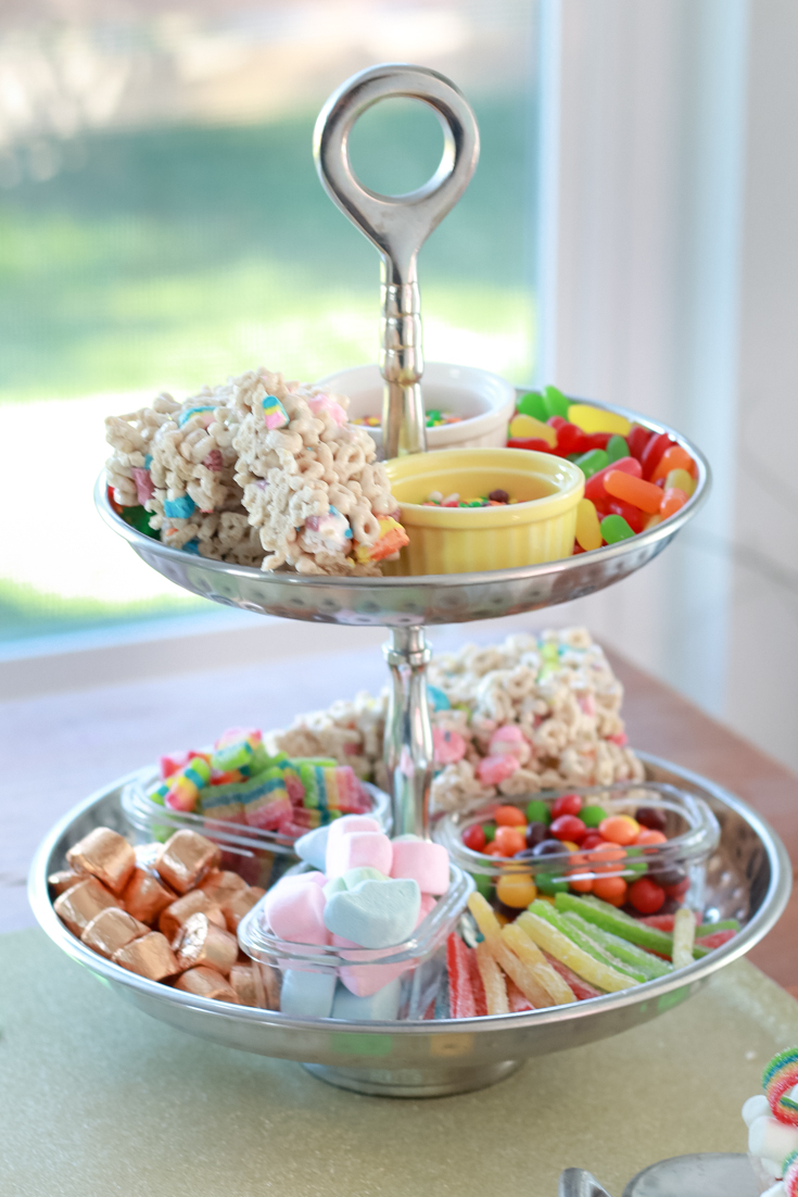 The Perfect Family St. Patrick's Day party featured by Style & Wanderlust, popular US Party Blogger; rainbow candy platter