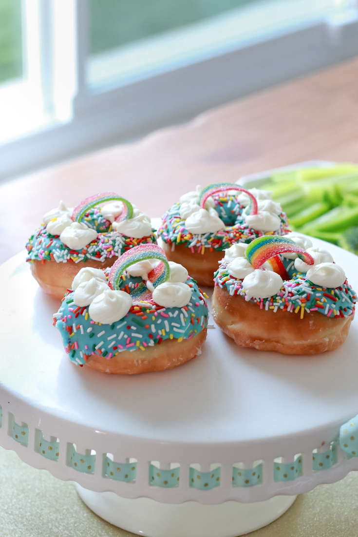 The Perfect Family St. Patrick's Day party featured by Style & Wanderlust, popular US Party Blogger; rainbow donuts.