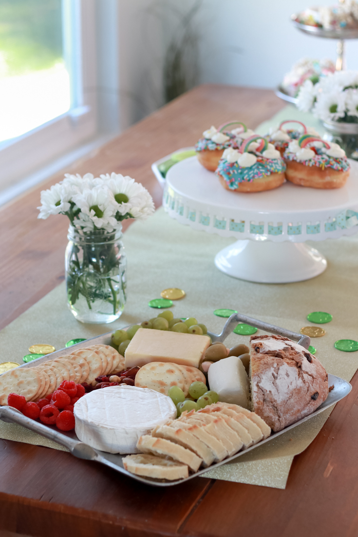 The Perfect Family St. Patrick's Day party featured by Style & Wanderlust, popular US Party Blogger; cheese platter with irish soda bread.