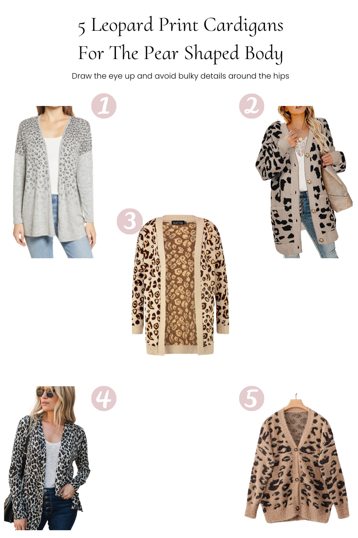 5 Leopard Print Cardigans For The Pear Shaped Body featured by Popular US Style Blogger, Style & Wanderlust; collage of 5 cardigans for the pear body.