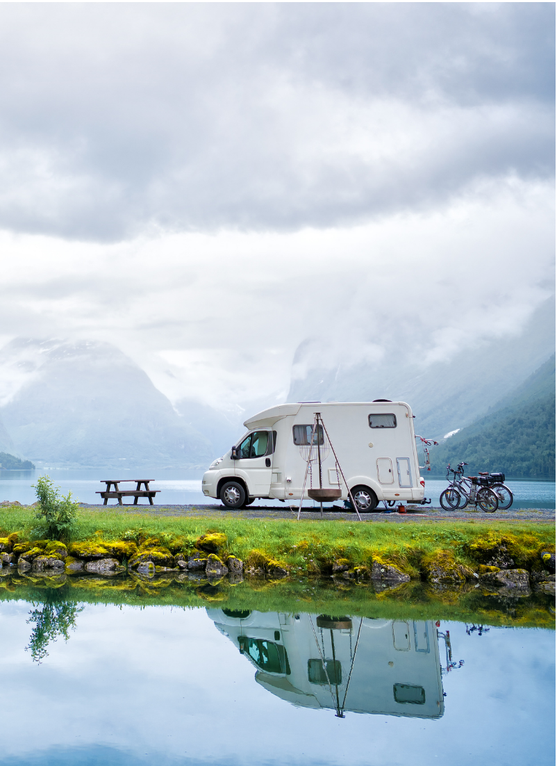 RV Packing List: 9 Essentials To Take For Your Next RV Vacation featured by Top US Travel Blogger, Style And Wanderlust.; image of RV at a campsite