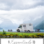 RV Packing List: 9 Essentials To Take For Your Next RV Vacation featured by Top US Travel Blogger, Style And Wanderlust; image of RV at a campground with a lake