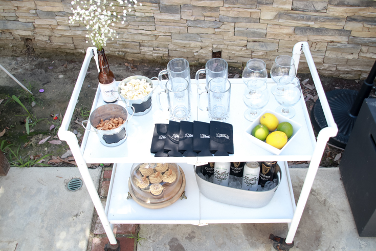 Pizza And Beer Party Essentials featured by Top US Party Blog, Style & Wanderlust; bar cart setup for beer party