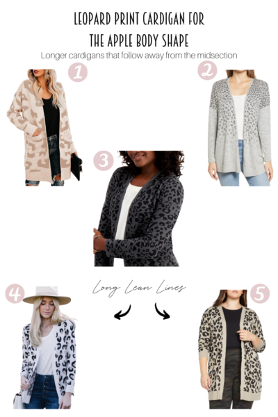 5 Leopard Print Cardigans For An Apple Body Shape featured by Popular US Style Blogger, Style & Wanderlust; collage of leopard cardigans.
