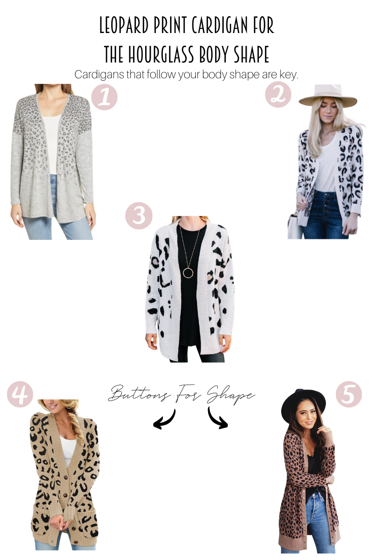 The Best Leopard Print Cardigan For The Hourglass Body Shape featured by popular US Style Blogger, Style & Wanderlust; collage of cardigans for an hourglass body.