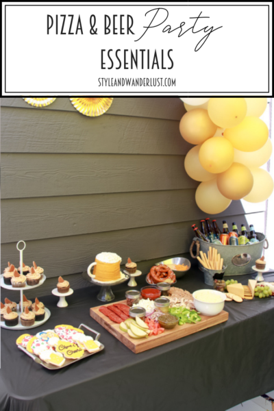 Pizza And Beer Party Essentials featured by Top US Party Blog, Style & Wanderlust; party tablescape with balloon arch.