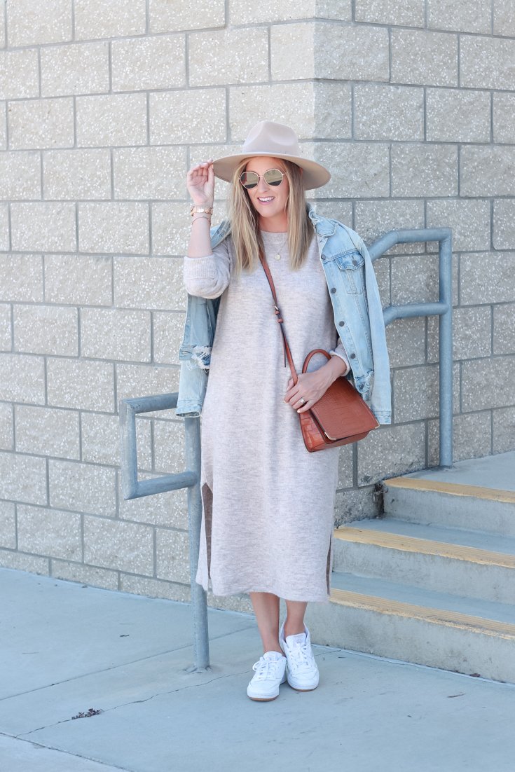 Top US Style Blogger, Style And Wanderlust shares her Spring Fashion Favorites: Shopbop Knit Sweater Dress. Top US Style Blogger, Style And Wanderlust; woman wearing a dress and hat.