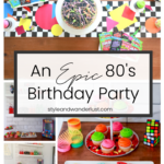 Top US Party Blogger, Style And Wanderlust, shares An Epic 80's Birthday Party for Kids; Neon Splatter Cake and 80's cookies