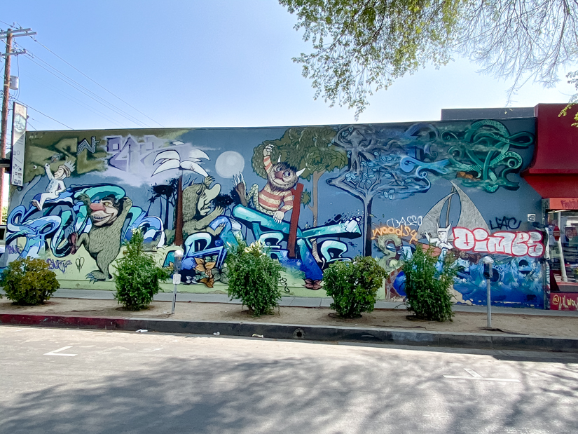 Top US Travel Blogger, Style And Wanderlust shares Must See Murals on Melrose in West Hollywood; Where the wild things are mural in LA