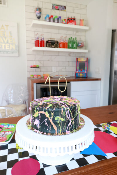 Top US Party Blogger, Style And Wanderlust, shares An Epic 80's Birthday Party for Kids; Neon Splatter Cake.